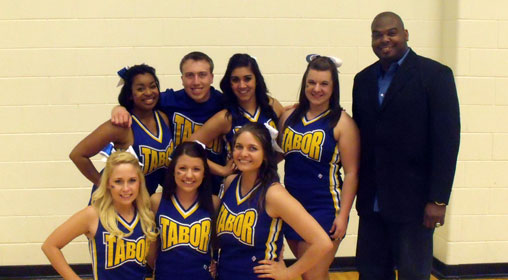 Tony Morris and the Tabor College Cheerleading Team